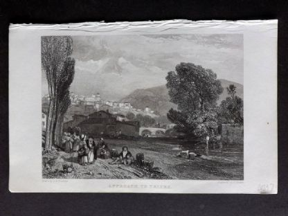 Roscoe 1834 Antique Print. Approach to Thiers, France